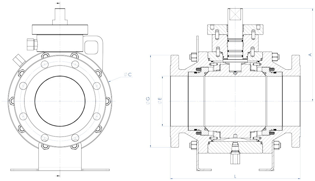 Vanne à boisseau sphérique Supreme Trunnion - dimensions - DN ≥150 MESURE ≥6""